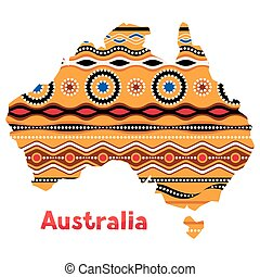 ilustración, de, australia, mapa, con, tradicional, ornament.