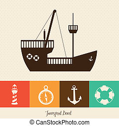 ilustración, de, barco