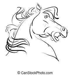 ilustración, de, caballo