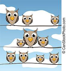 ilustración, de, caricatura, aves, en, alambre