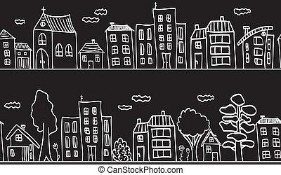 ilustración, de, casas, y, edificios, -, seamless, patrón