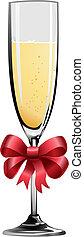 ilustración, de, champaña