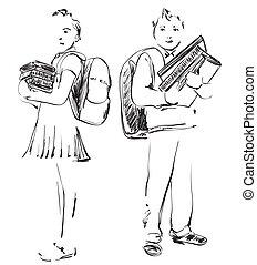 ilustración, de, colegiales, niño, y, girl., mano, dibujado, sketch.