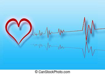 ilustración, de, corazón, con, cardiología