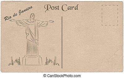 ilustración, de, cristo redentor, estatua, cuál, es, localizado, en, río de janeiro, brazil., pintado, en, cartón, texture.