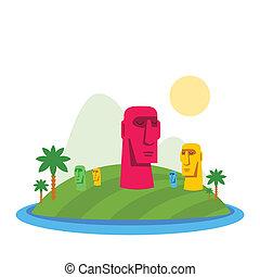 ilustración, de, de, isla de pascua