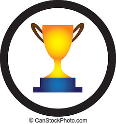 ilustración, de, dorado, trofeo, taza, presentado, a, un,...