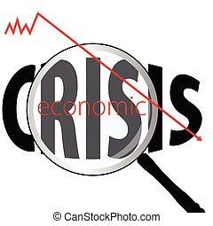 ilustración, de, económico, crisis, con, lupa