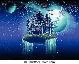 ilustración, de, el, aire, espacio, de, el castillo, con, un, puente, en, el, plano de fondo, de, el, planetas