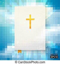 ilustración, de, el, biblia, con, rayos sol