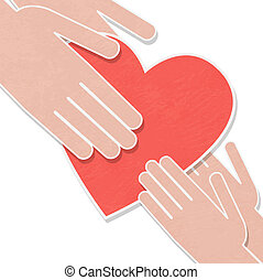 ilustración, de, el, corazón humano, rescate, personas.