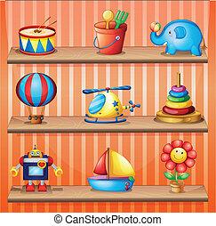 ilustración, de, el, juguete, colecciones, eso, ser, apropiadamente, arreglado, en, el, de madera, estantes