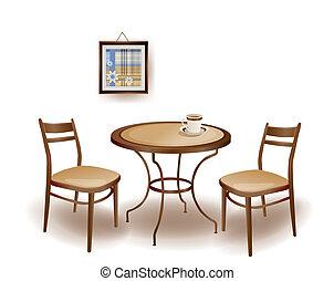 ilustración, de, el, mesa redonda, y, sillas