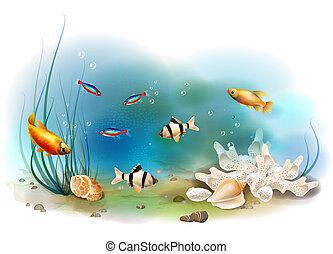 ilustración, de, el, tropical, submarino, mundo