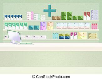 ilustración, de, farmacia
