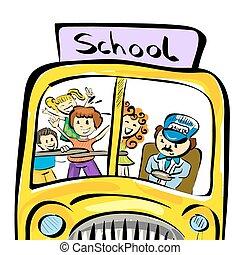 ilustración, de, garabato, eduque autobús, con, niños