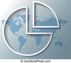 ilustración, de, gráfico circular, con, mapa del mundo, plano de fondo