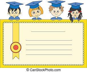ilustración, de, graduados
