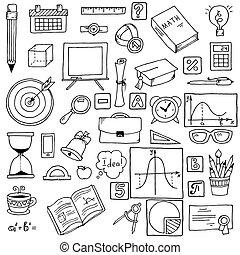 ilustración, de, iconos, en, un, matemáticas, theme., mano, dibujado, escuela, items., vector, illustration., matemáticas, telón de fondo.