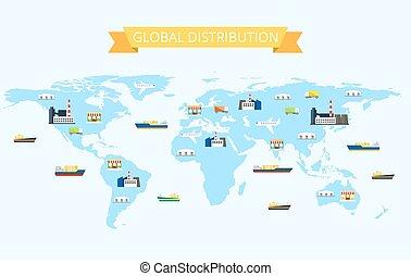 ilustración, de, internacional, distribución, en, el mundo, mapa, con, plantas, transporte, almacenes, tiendas