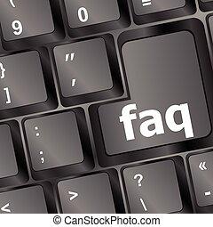ilustración de la computadora, faq, vector, primer plano, llave, teclado, rojo