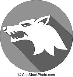 ilustración, de, lobo, cara