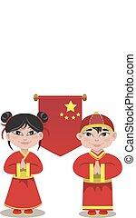 ilustración, de, macho, y, un, hembra, chino, blanco, plano de fondo
