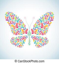 ilustración, de, mariposas