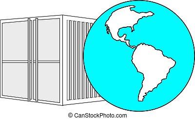 ilustración, de, metal, 40, pies, mar, contenedor, con, azul ligero, globo del mundo