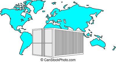 ilustración, de, metal, 40, pies, mar, contenedor, con, azul ligero, mapa del mundo