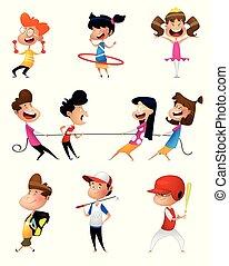 ilustración, de, muchos, niños, hacer, deportes