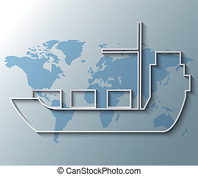 ilustración, de, nave de envase, con, mapa del mundo, plano de fondo