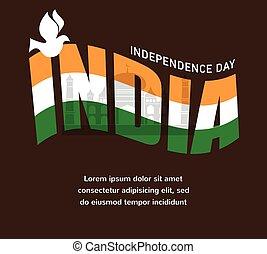 ilustración, de, ondulado, indio, banderas, con, monumento, día de independencia