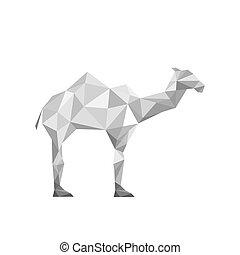 ilustración, de, papel, origami, camello, aislado, blanco,...