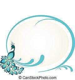 ilustración, de, pavo real, sentado, en, floral, marco