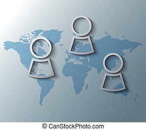ilustración, de, personas, con, mapa del mundo, plano de fondo