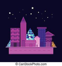 ilustración, de, rascacielos, ciudad, edificio, en, fondo azul