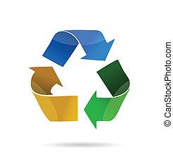 ilustración, de, reciclaje