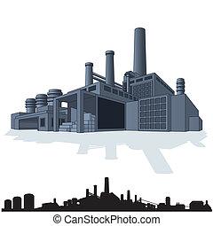 ilustración, de, resumen, grande, factory., 3d, vector