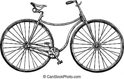 ilustración, de, retro, bicicleta