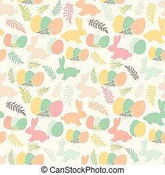 ilustración, de, seamless, patrón, con, flores, conejitos, y, huevos de pascua