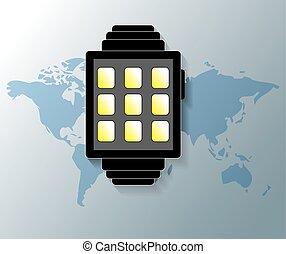 ilustración, de, smartwatch, con, gris, mapa del mundo, plano de fondo
