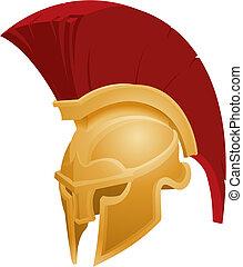ilustración, de, spartan, casco