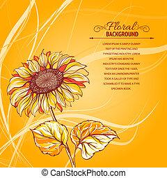 ilustración, de, sunflower.