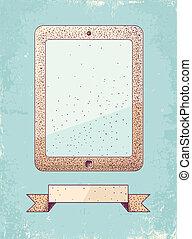 ilustración, de, tableta