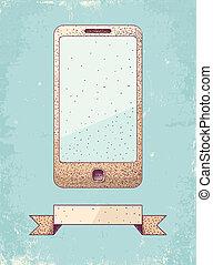ilustración, de, teléfono