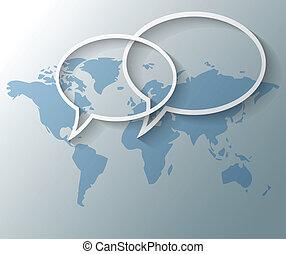 ilustración, de, texto, globos, con, mapa del mundo, plano de fondo