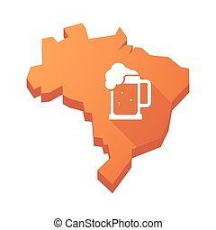 ilustración, de, un, aislado, brasil, mapa, con, un, cerveza, tarro, icono