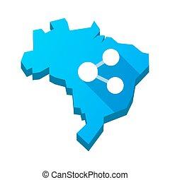 ilustración, de, un, aislado, brasil, mapa, con, un, red, señal