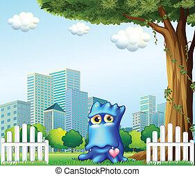 ilustración, de, un, azul, monstruo, posición, cerca, el, cerca, a través de, el, alto, edificios